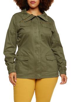 Plus Size Utility Jacket - 3886054261644