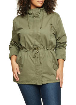 Plus Size Hooded Parka - ARMY GREEN - 3886054265543