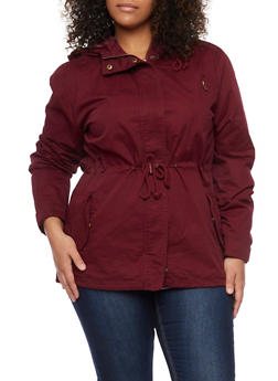 Plus Size Hooded Parka - 3886054265543