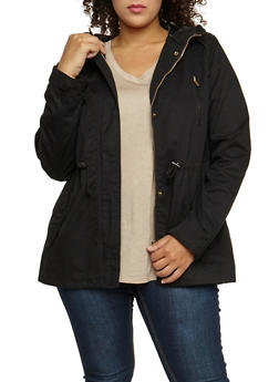 Plus Size Solid Hooded Anorak Twill Jacket - BLACK - 3886054266554