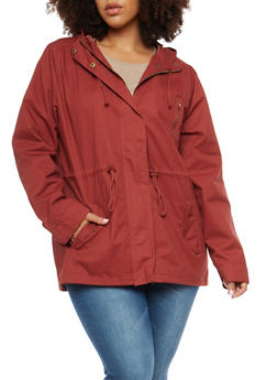 Plus Size Solid Hooded Anorak Twill Jacket - 3886054266554