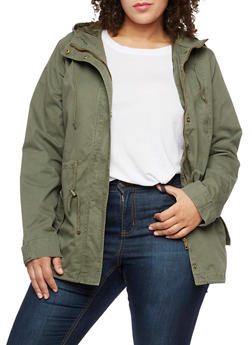Plus Size Solid Hooded Anorak Twill Jacket - OLIVE S - 3886054266554