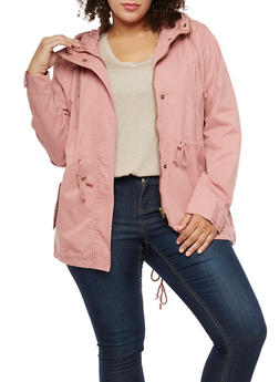 Plus Size Solid Hooded Anorak Twill Jacket - MAUVE S - 3886054266554