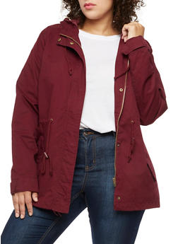 Plus Size Solid Hooded Anorak Twill Jacket - BURGUNDY - 3886054266554