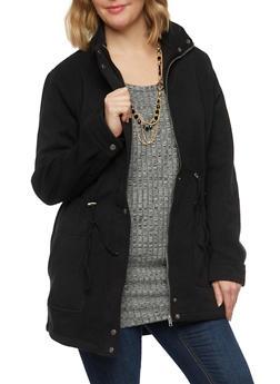 Plus Size Coat with Drawstring Waist - 3886054267211