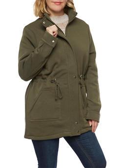 Plus Size Coat with Drawstring Waist - OLIVE - 3886054267211