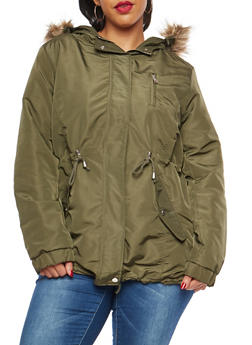 Plus Size Lined Hooded Anorak Jacket - 3886054268872