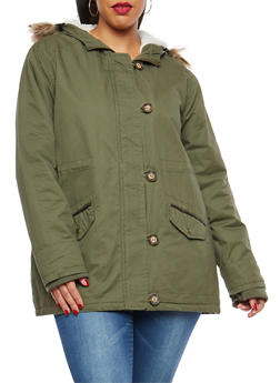 Plus Size Lined Anorak Jacket with Hood - 3886054268875