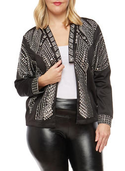 Plus Size Studded Blazer - 3886058931031