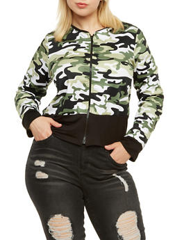 Plus Size Bomber Jacket in Camo Print - 3886063401732