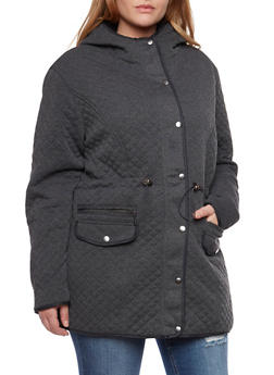 Plus Size Quilted Coat with Drawstring Waist and Hood - 3886064212828