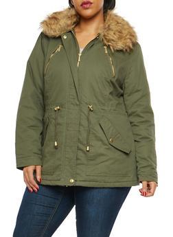 Plus Size Faux Fur Trim Anorak Jacket - 3886064212983