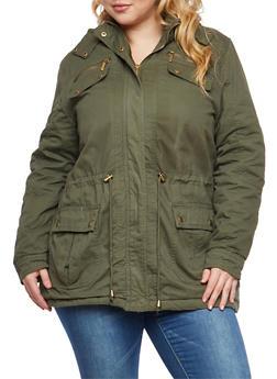 Plus Size Sherpa Lined Hood Anorak Jacket - 3886064213033