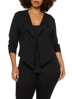 Plus Size Flyaway Blazer with Double Zipper Back - 3886068198121