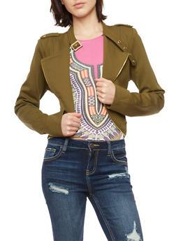 Plus Size Zip Trim Moto Jacket - OLIVE - 3886068198129