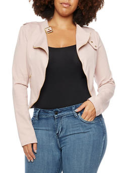 Plus Size Zip Trim Moto Jacket - 3886068198129