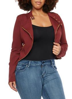 Plus Size Moto Jacket with Zip Trim - WINE - 3886068198129