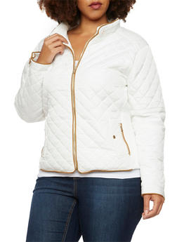 Plus Size Quilted Jacket with Faux Suede Trim - WHITE - 3886068198172