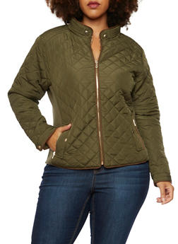 Plus Size Quilted Jacket with Faux Suede Trim - OLIVE - 3886068198172