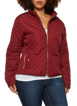 Plus Size Quilted Jacket with Faux Suede Trim - 3886068198172