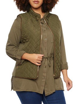 Plus Size Quilted Vest with Faux Suede Trim - 3886068198174