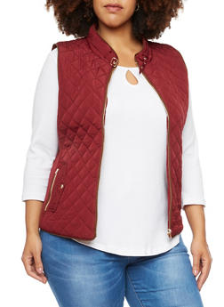 Plus Size Quilted Vest with Faux Suede Trim - WINE - 3886068198174