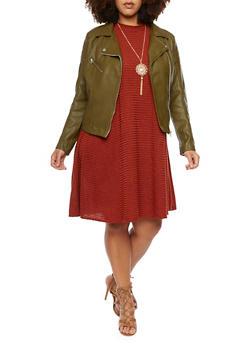 Plus Size Faux Leather Moto Jacket - OLIVE - 3886068198182
