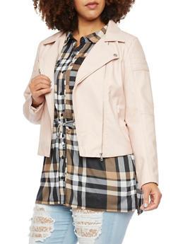 Plus Size Faux Leather Moto Jacket - MAUVE - 3886068198182