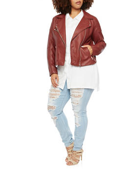 Plus Size Faux Leather Moto Jacket - 3886068198182