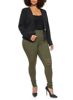 Plus Size Blazer with Zipper Hem - BLACK - 3886068198187