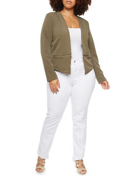 Plus Size Blazer with Zipper Hem - 3886068198187