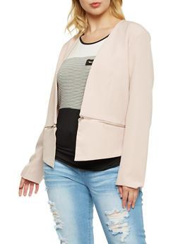 Plus Size Blazer with Zipper Hem - 3886068198187
