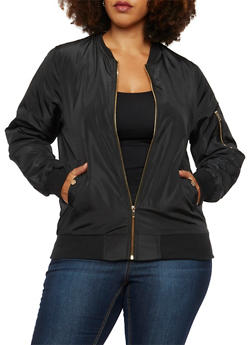 Plus Size Satin Bomber Jacket with Snap Pockets - BLACK - 3886068198317