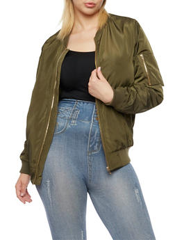Plus Size Satin Bomber Jacket with Snap Pockets - OLIVE - 3886068198317