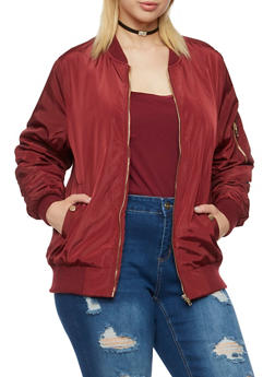 Plus Size Satin Bomber Jacket with Snap Pockets - WINE - 3886068198317