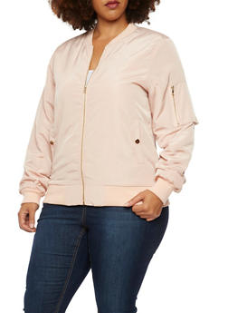 Plus Size Satin Bomber Jacket with Snap Pockets - ROSE - 3886068198317