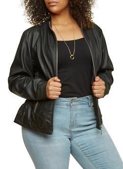 Plus Size Faux Leather Jacket - 3887051060270