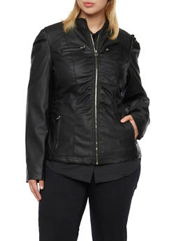 Plus Size Faux Leather Jacket with Ruching - 3887051060494