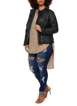 Plus Size Faux Leather Jacket with Moto Paneling - 3887051061260