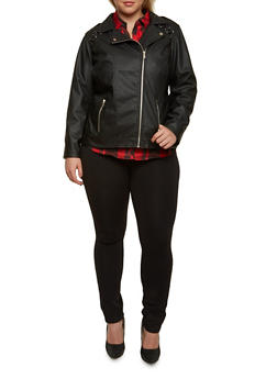 Plus Size Zipper Moto Jacket with Lace-Up Shoulders - 3887051061580
