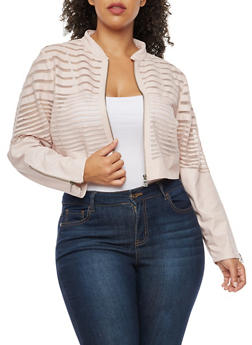 Plus Size Faux Leather Mesh Stripe Cropped Jacket - 3887051062100
