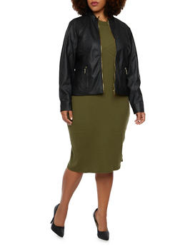 Plus Size Faux Leather Moto Jacket - 3887051062361