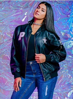 Plus Size Leather Bomber Jacket with Assorted Patches - 3887051062531