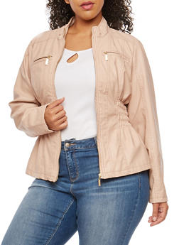 Plus Size Smocked Side Faux Leather Jacket - 3887051062600