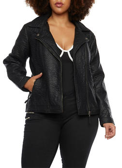 Plus Size Leather Moto Jacket with Zip Pockets - 3887051063980