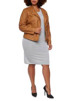 Plus Size Quilted Moto Jacket with Zip Pockets - 3887051064000