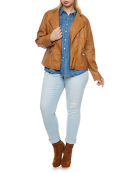 Plus Size Faux Leather Biker Jacket with Stitched Panels - 3887051064001