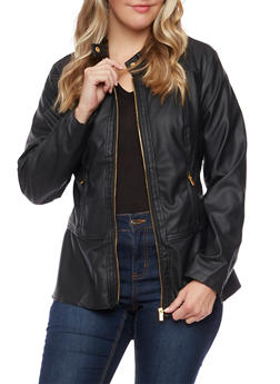 Plus Size Faux Peplum Hem  Leather Jacket - 3887051064140