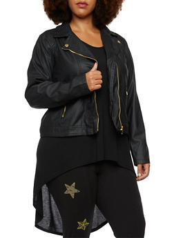 Plus Size Faux Leather Moto Jacket - 3887051064186