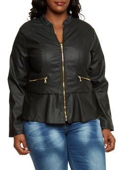 Plus Size Faux Leather Peplum Jacket - 3887051064715
